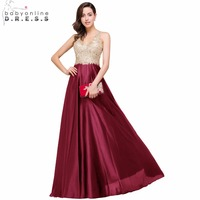 Babyonline Luxury Gold Lace V Neck Long Evening Dresses 2017 Sexy Open Back Formal Prom Party