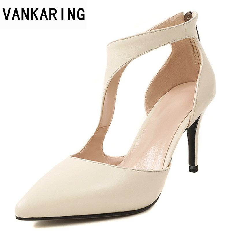 VANKARING new 2018 women spring summer fashion sandals sexy thick high heels pointed toe shoes woman dress party gladiator shoes new 2017 spring summer women shoes pointed toe high quality brand fashion womens flats ladies plus size 41 sweet flock t179