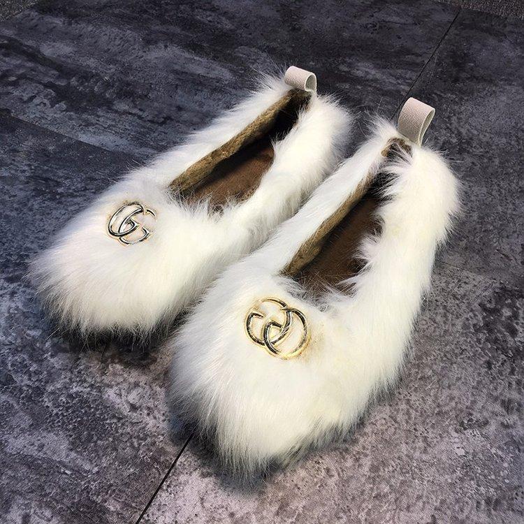 Automne Unique 2 Plus D'hiver Chaussures Femmes Velours 1 De Haricots 18 Fond Plat Vison Et Cheveux PXTOikZu