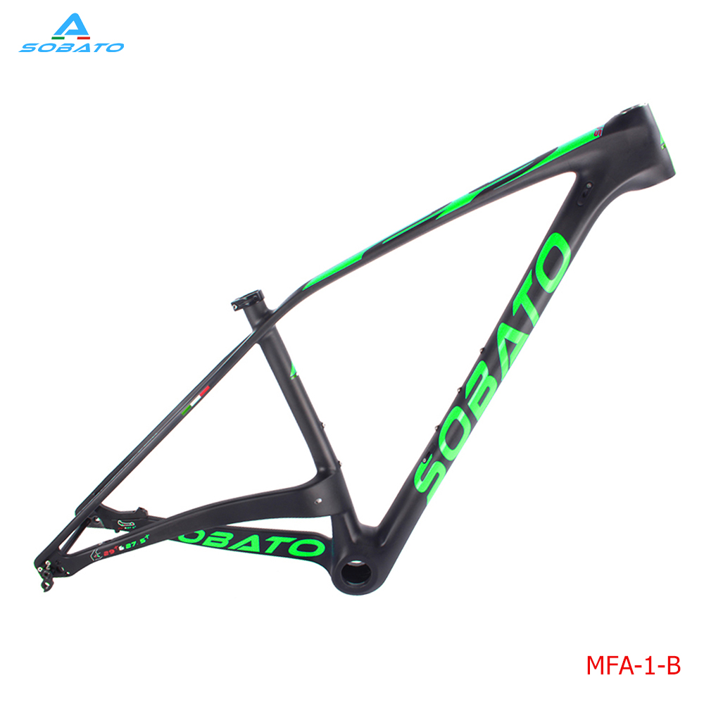 2017 sobato new design thru axle/axel carbon mtb frame, hub space 148*12 mm BSA 73 inner cable routing  green decal ботильоны axel