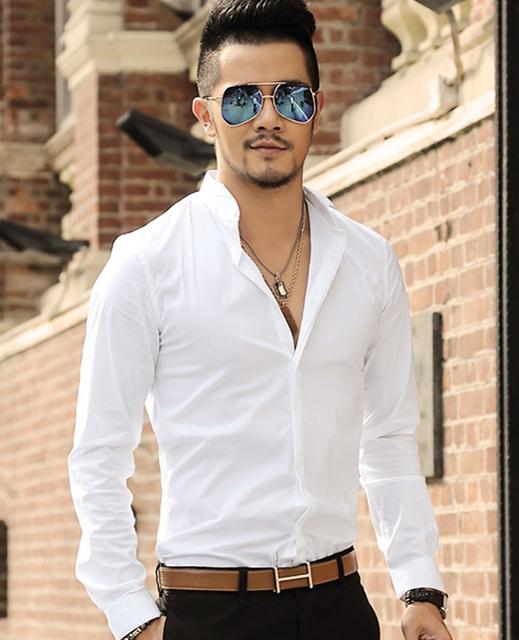 Moda Delgado Stretch Para Hombre chemise homme Camisa de Manga Larga Camisa Casual de Negocios sólido Collar Vestido Trabajador Desgaste Camisa Masculina