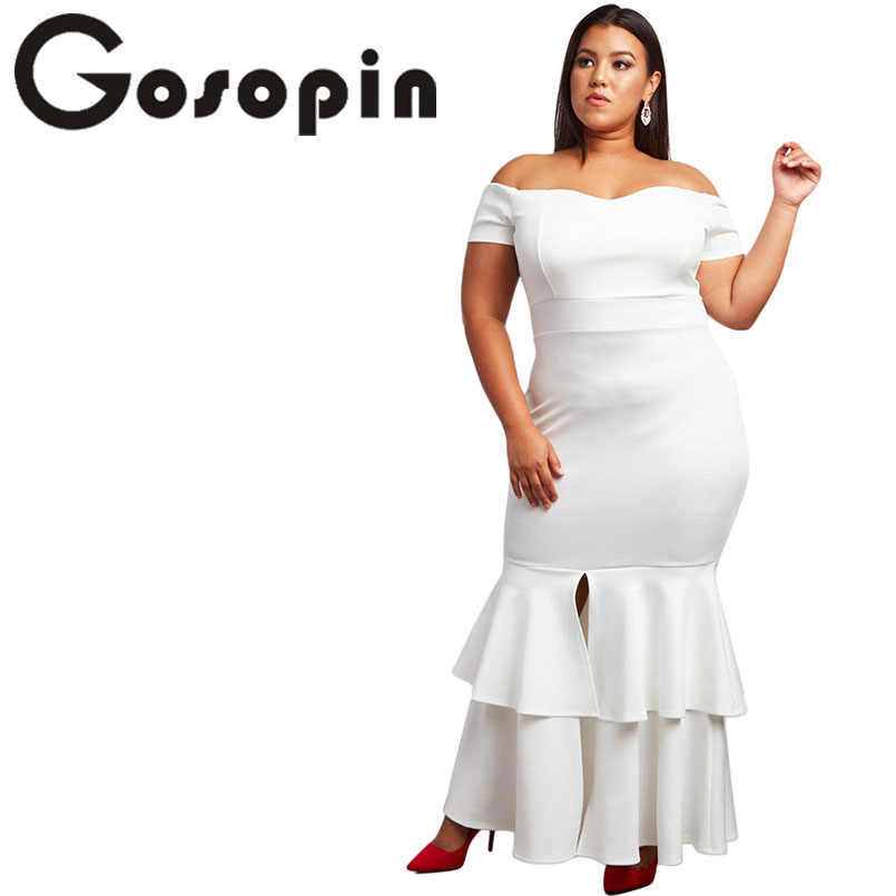 278ab67777f Gosopin Plus Size Sexy Red Party Dress Ruffle Slit Mermaid Bodycon Dress  Long Christmas Woman Dresses