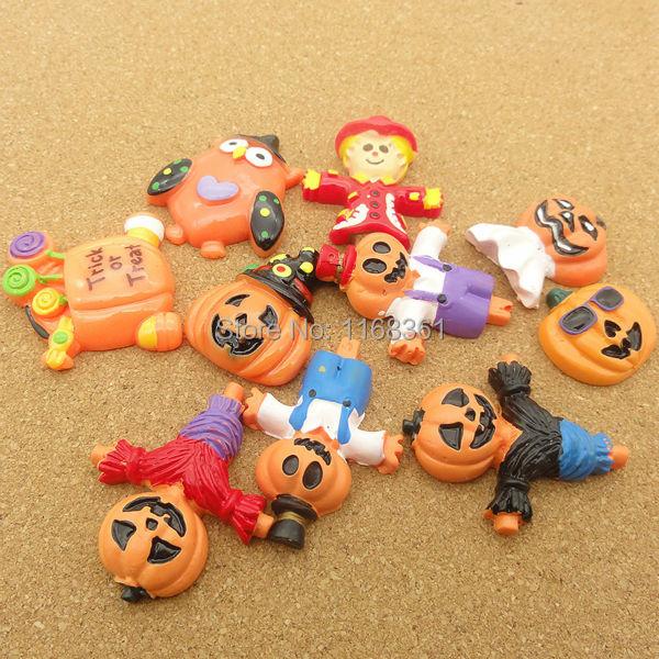 5pcs/lot Resin Flatback Halloween Pumpkin Carriage Scarecrow Bat Clown Mix Size For Phone Kid's Hair Decoration Home Decoration