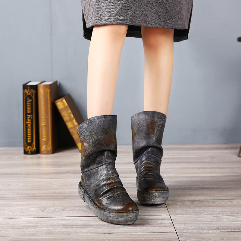 Genuine Leather Boots 2016 Winter Flat Leather Female Boots Handmade Comfortable Ankle Boots 1933-1