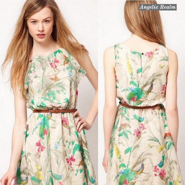 2014 European american style new chiffon dress floral sleeveless printed  chiffon fashion dress
