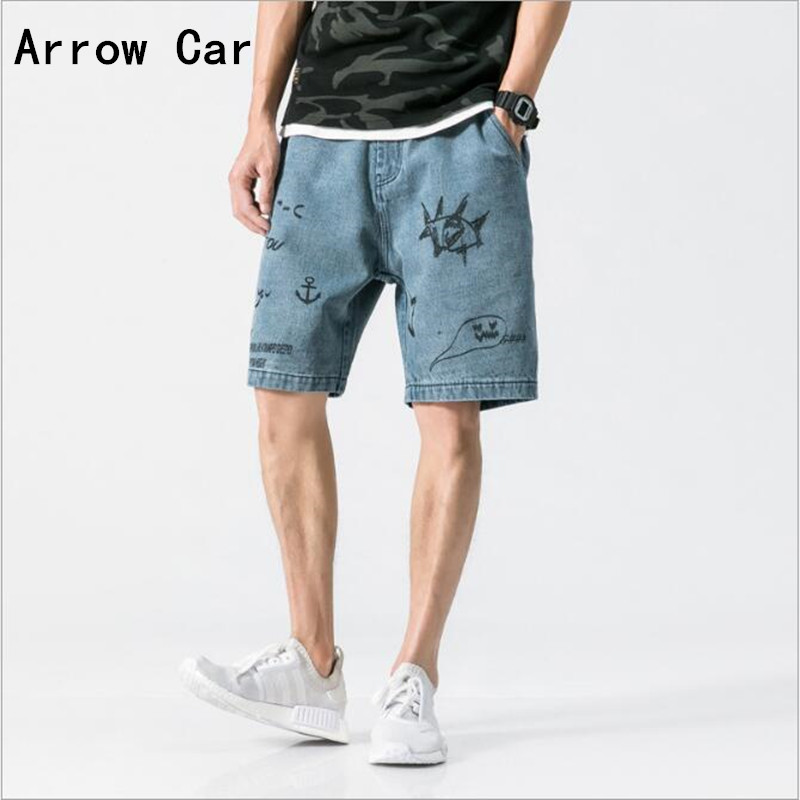 Summer Japanese Street Retro Old Washed Denim Shorts Tide Men Personality Graffiti Printing Short Jeans Casual Male Shorts
