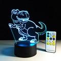 Novelty interruptor táctil luz del escritorio de luz colorida de la noche del usb led lámpara de mesa de acrílico ilusión 3d dinosaurio para la decoración casera