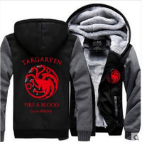 2017 New Game Of Thrones House Stark Men Sweatshirt Winter Is Coming Hoodie Winter Warm Fleece
