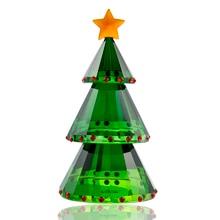 H & D Figurine en verre, cristal vert, arbre de noël avec boîte cadeau, artisanat fait à la main, à collectionner, cadeau pour noël