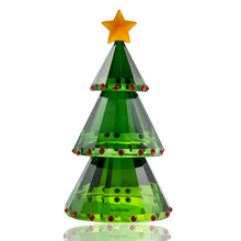 H&D Green Crystal Glass Christmas Tree Holiday Figurine with Gift Box Handmade Collectible Gift Craft for Christmas Day