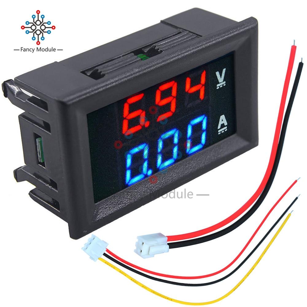 Mini Digital Voltmeter Ammeter DC 100V 10A Panel Amp Volt Voltage Current Meter Tester 0.28 Blue + Red Dual LED Display 2 2 lcd red led panel 0 10a digital meter ammeter black