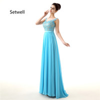 Setwell Summer Chiffon Long Bridesmaid Dresses High Quality Scoop Backless Bridesmaid Dress Blue Simple Lace Bridesmaid
