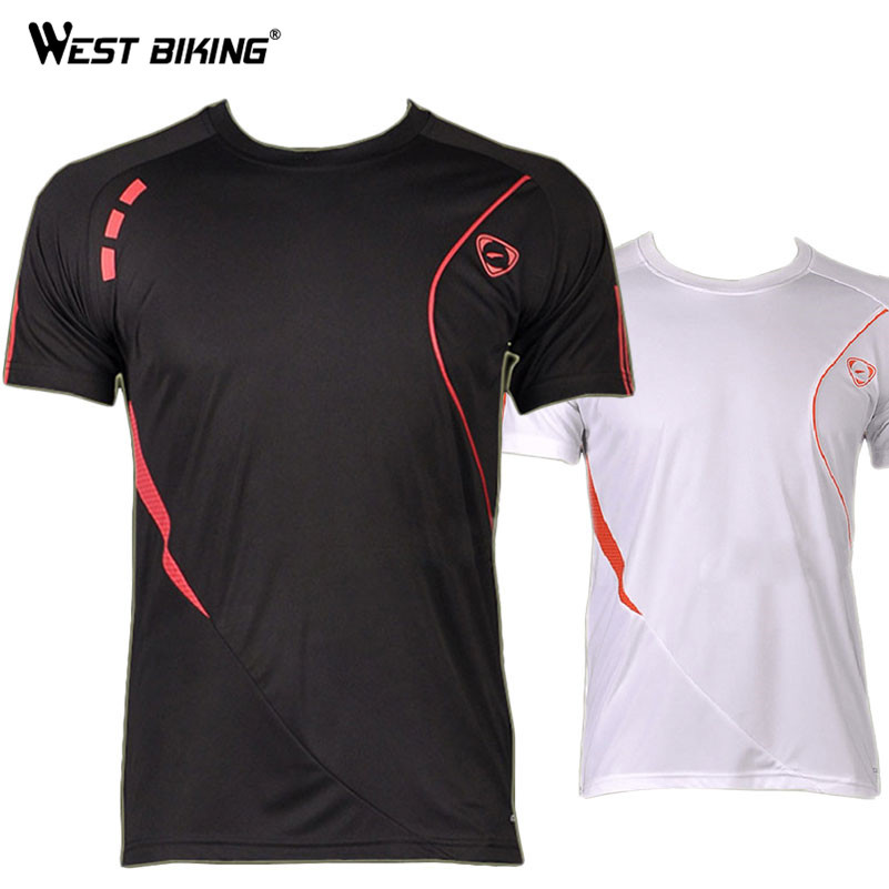 WEST BIKING Brand Quality Cheap Price Male Running Cycling Short Sleeve Jerseys O-neck Men Bike Bicycle Quick Dry T-shirts image