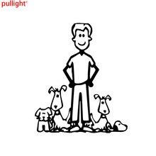 12.8*15.1CM Cartoon Family Car Sticker Personality Crazy Dog Guy Vinyl Decals
