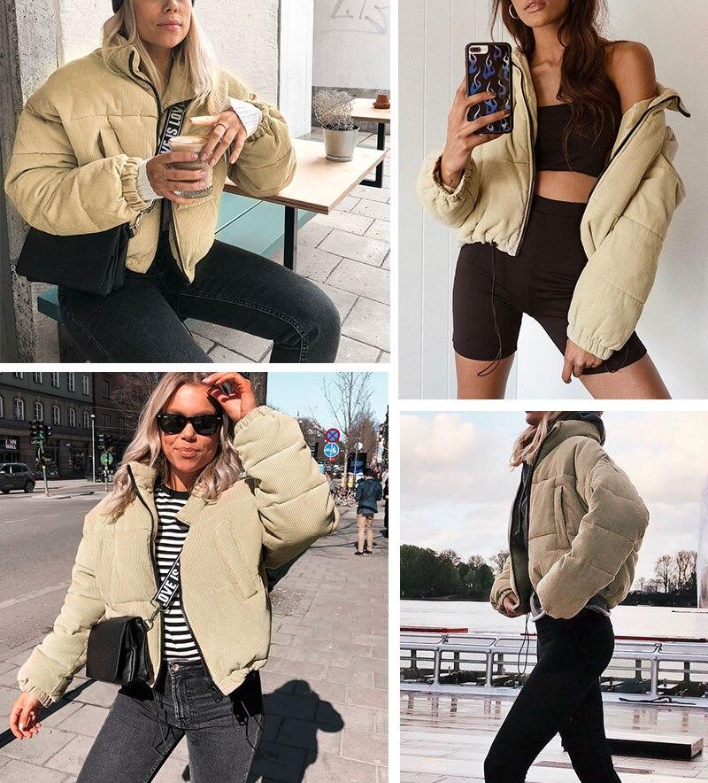 MissyChilli Casual down parka jacket women winter coat Female khaki streetwear short coat Snow wear warm corduroy outerwear new 1