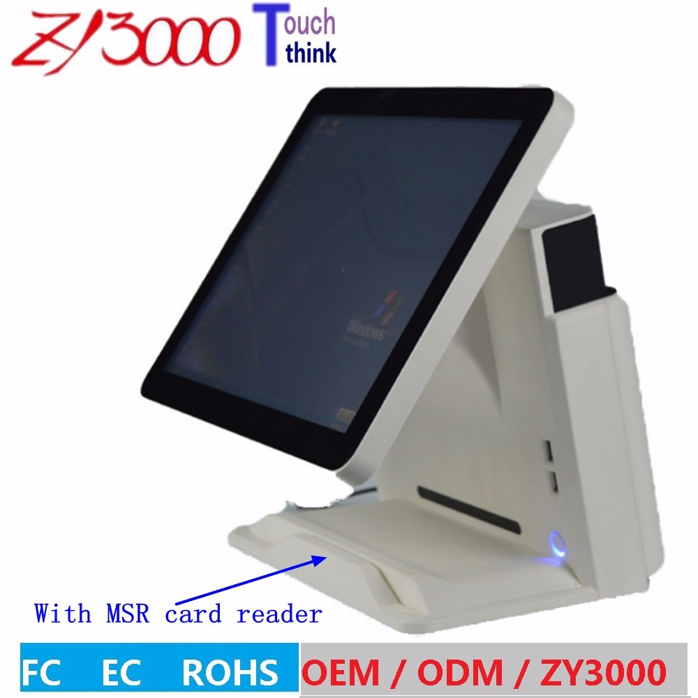 new stock 4510U cpu DDR 8G Msata128G SSD WIFI 15 inch capacitive touch Screen all in one POS Terminal With MSR card reader