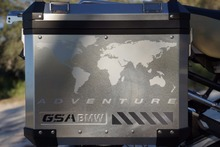 "GSA Adventure Motorcycle Reflective Decal Kit ""World Adventure in Silver"" for Touratech Panniers"
