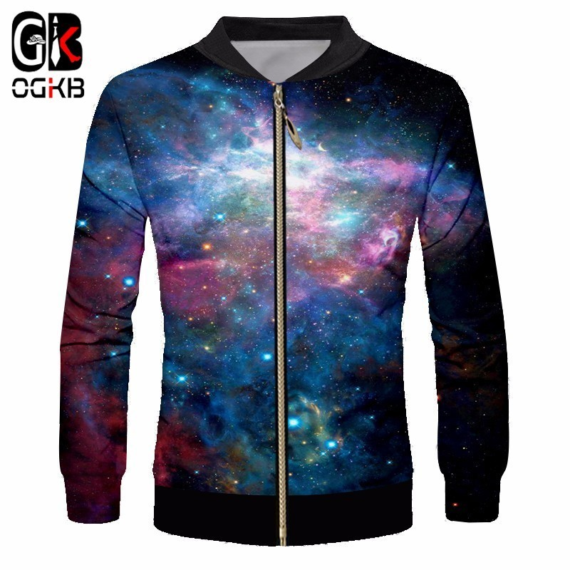 OGKB 2018 Spring Autumn Fashion Jacket Men's Stand Collar Casual Jackets Print Galaxy Space 3D Male Coat Man Coat Outwear Couple