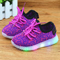 New fashion kids breathable Net Mesh led light up shoes casual toddler shoes for boys girls sneakers with lights 1~14 years old