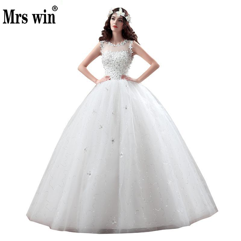 New Arrive Korean Style Large Size Wedding Dress Lace Embroidery Wedding Dress Custom Made Size 004