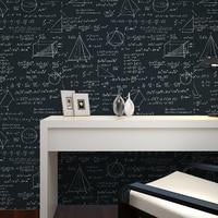 Beibehang Behang schoolbord geometrische wiskundige formule stijl behang woonkamer kamer cafe zwart wit behang roll