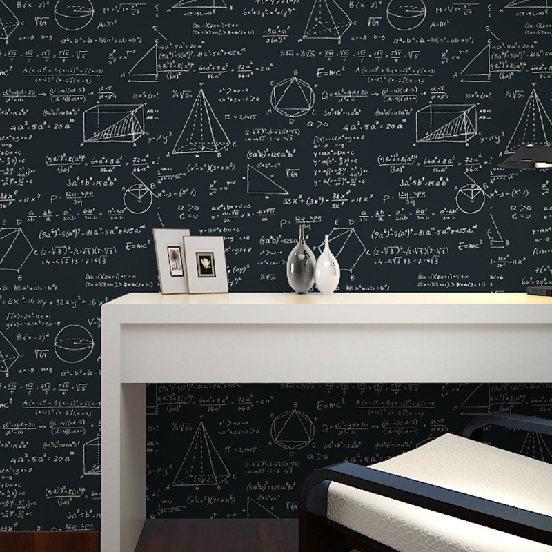 Beibehang Wallpaper blackboard geometric mathematical formula style wallpaper living room room cafe black white wallpaper roll formula fa 011b black