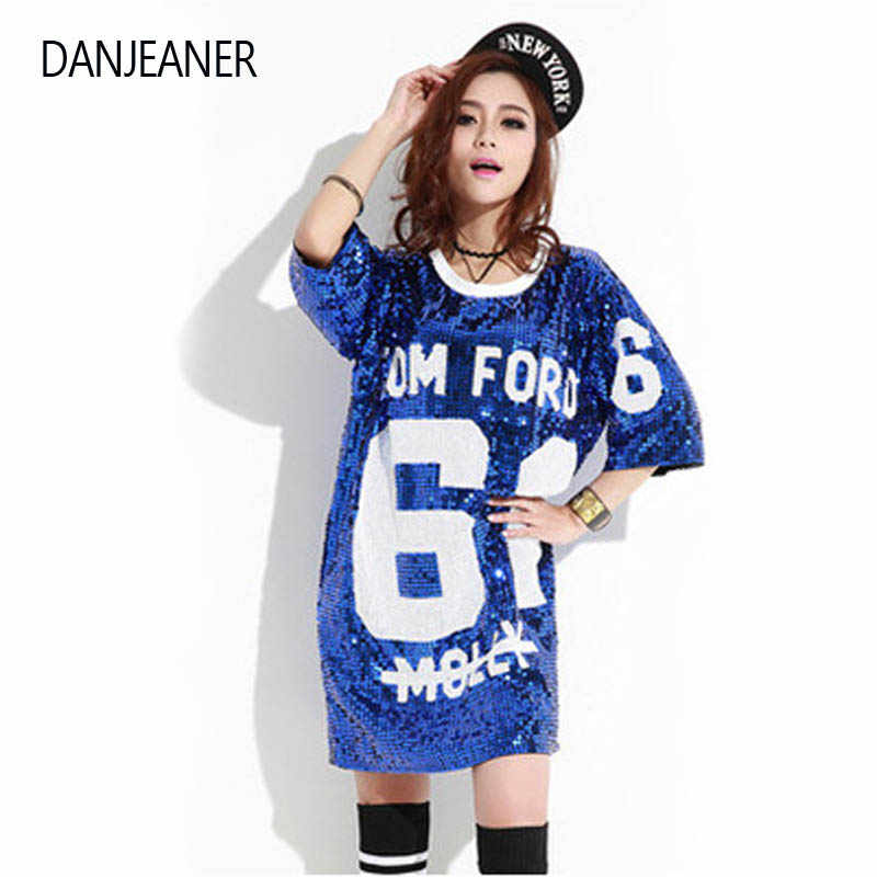 DANJEANER Woman Club Hip Hop Sequin T Shirt Loose Tee Shirts Glitter Tops  Christmas girls Fashion c496487f1b81