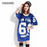 DANJEANER femme Club Hip Hop Sequin t-shirt en vrac t-shirts paillettes hauts de noël filles mode à manches courtes O cou t-shirts