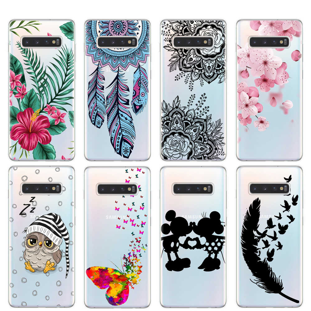 Butterfly Bunga Phone Case untuk Samsung Galaxy S6 S7 Edge S8 S9 S10 Plus S10E S10 Lite 5G Catatan 8 9 10 Pro M10 M20 M30 M40 Cover