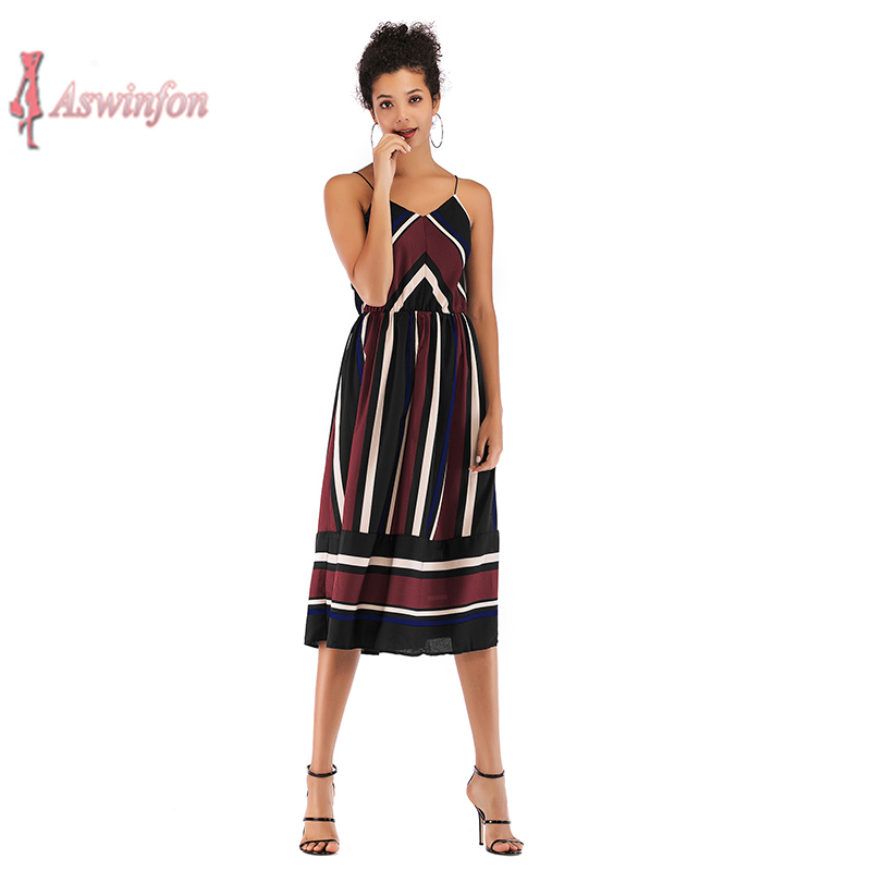 Aswinfon <font><b>Casual</b></font> <font><b>Striped</b></font> <font><b>Beach</b></font> Summer <font><b>Dress</b></font> <font><b>Women</b></font> <font><b>Sexy</b></font> <font><b>Sleeveless</b></font> Spaghetti Strap Midi A Line <font><b>Dresses</b></font> Sundress image