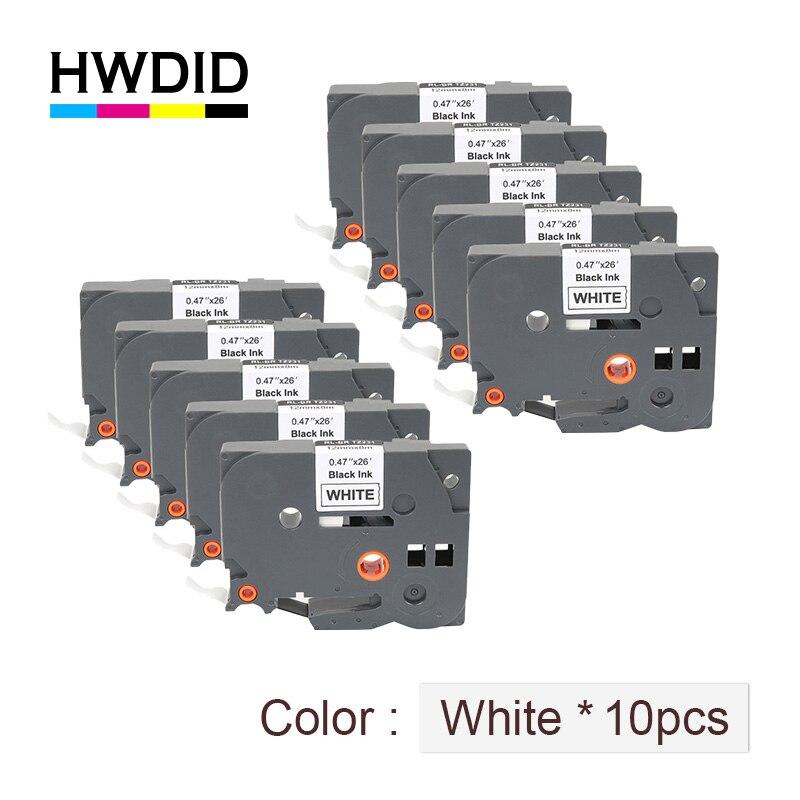 Hwdid tze 231 tz/tze 231 para o fabricante da etiqueta da  impressora do toque do irmão p/fita 12mm preto no branco tz/tze 231  tze/tz231 fitas laminadastze 231 12mmtze 231brother p-touch -