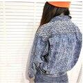 2017 Новый Vintage Стретч Заклепки Джинсовая Куртка Блестки Лоскутные Пиджаки Короткие Джинсы Пальто Классическая Женщины Жан