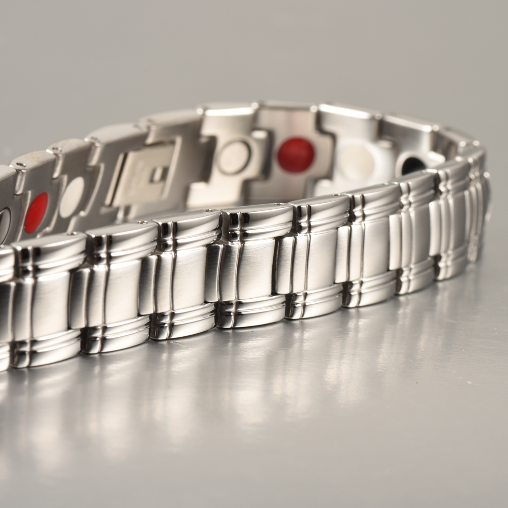 Wollet Fashion Costume Jewelry Healing FIR Magnetic Bracelet For Men Blood Pressure Accessory Stainless Steel Bracelet