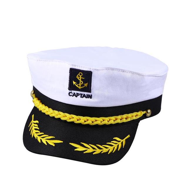 6c1b6da52d85a Adult Yacht Boat Ship Sailor Captain Costume Hat Cap Navy Marine Admiral  (White)-in Party DIY Decorations from Home   Garden on Aliexpress.com