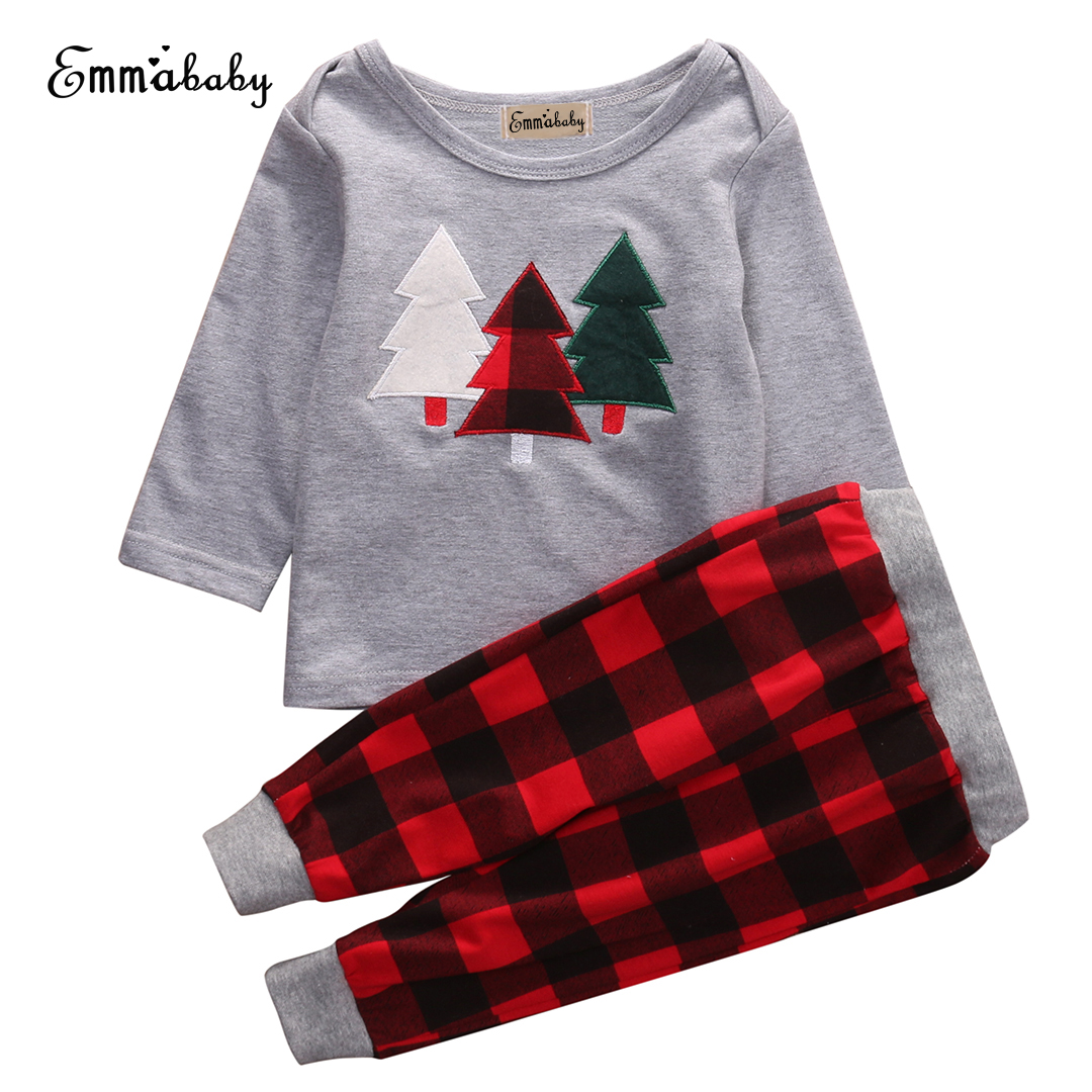 Christmas Outfits Kids Baby Girls Boys Clothes Cotton T- shirt + Pants Cotton Long Sleeve Clothing set Pajamas Sleepwear 2pcs children outfit clothes kids baby girl off shoulder cotton ruffled sleeve tops striped t shirt blue denim jeans sunsuit set