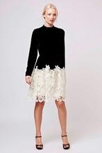 Winter Long Sleeve Lace Block White Black Party Dress Elegant Plus Size Women Vintage Pinup Lace Dress SM15QL354