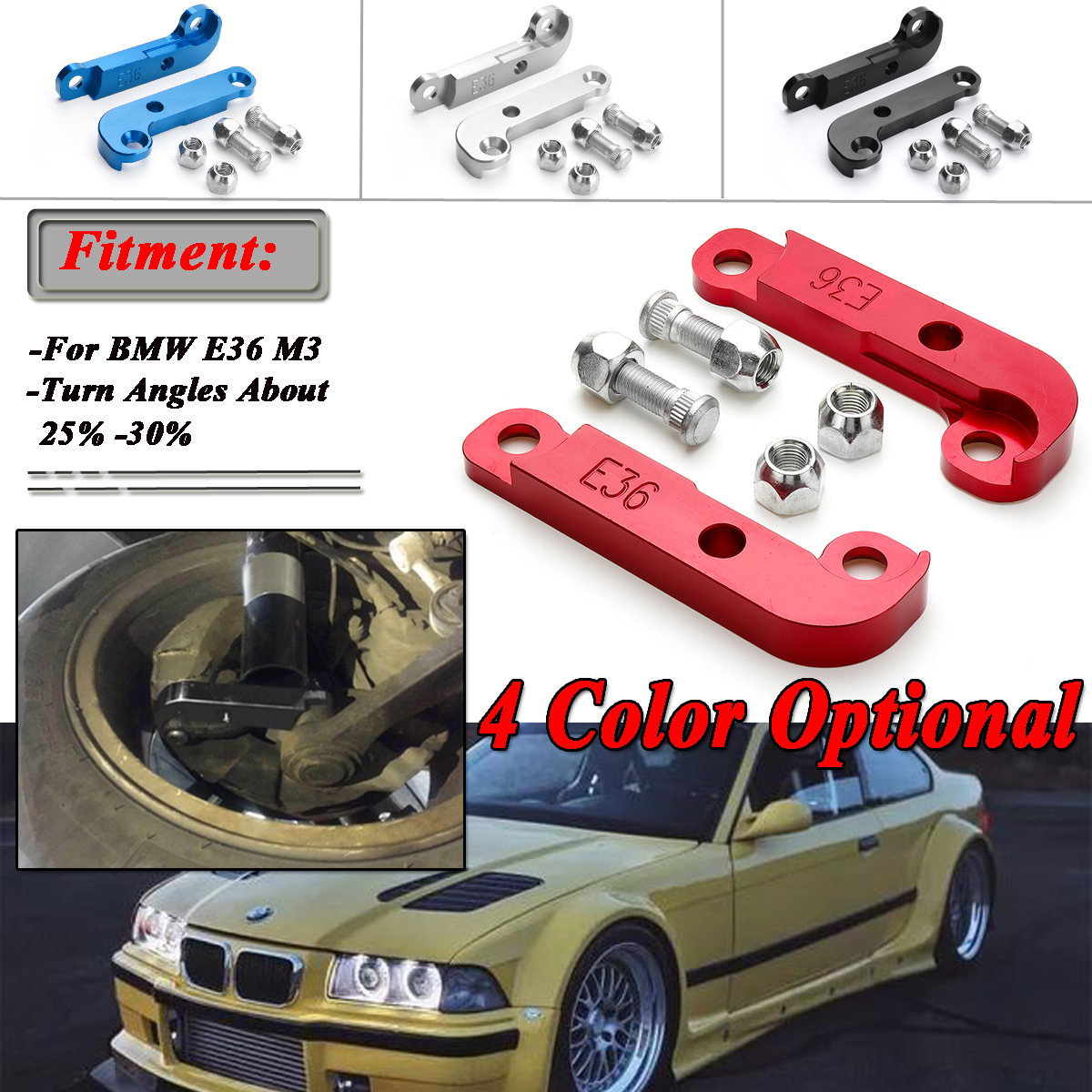 hight resolution of pair 4 colors adapter increasing turn angles about 25 30 drift lock kit for bmw e36 m3 tuning drift power adapters mounting in axle parts from