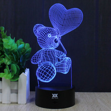 Teddy Bear Kitty Cat 3D Lamp LOVE Romantic Night Light Decorative LED Desktop Lamps USB Colorful Changing Color Girlfriend Gift