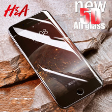 H&A 5D Full Cover Edge Tempered Glass For iPhone 7 8 6 Plus Screen Protector For iPhone 6 6s 7 Plus Film Protection Glass