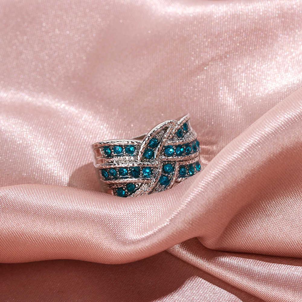 1 Pcs אופנה כחול קריסטל גדול חתונה לנשים רומנטי טבעת Femme כסף צבע טבעת נשי תכשיטים
