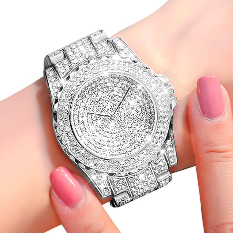 2020 Women Bling Watch Fashion Luxury Watches Ladies Crystal Diamond Clock Stainless Steel Wristwatch Fashion Silver Reloj Mujer