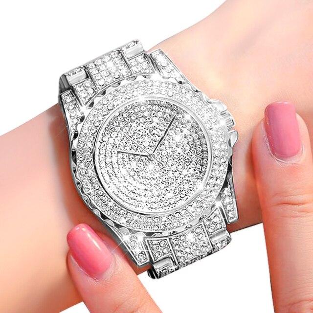 2020 女性ブリンブリンウォッチ高級アイスアウト時計レディースシルバーダイヤモンド時計ファッションローズゴールドリロイ mujer