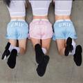 Mulheres Patinador Calções Unif Letras Logotipo Impresso Shorts Mulheres Harajuku Roupas de Malha De Cintura Alta Casual Sportswear Pantalones Cortos