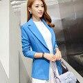 New Outono Inverno Mulheres Long Slim Blazer Moda Elegante Escritório OL Entalhado Jackaet Brasão Plus Size Formal de Trabalho Desgaste A0810
