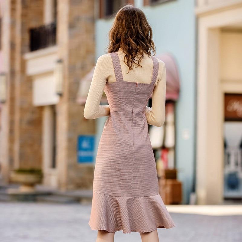 Nouveau Vêtements Ruches As Fit Plaid Automne Dames Femmes Photo Robe Longue 2018 Printemps Élégant Slim Doux Designer Spaghetti Parti Strap rR1xw7Fraq