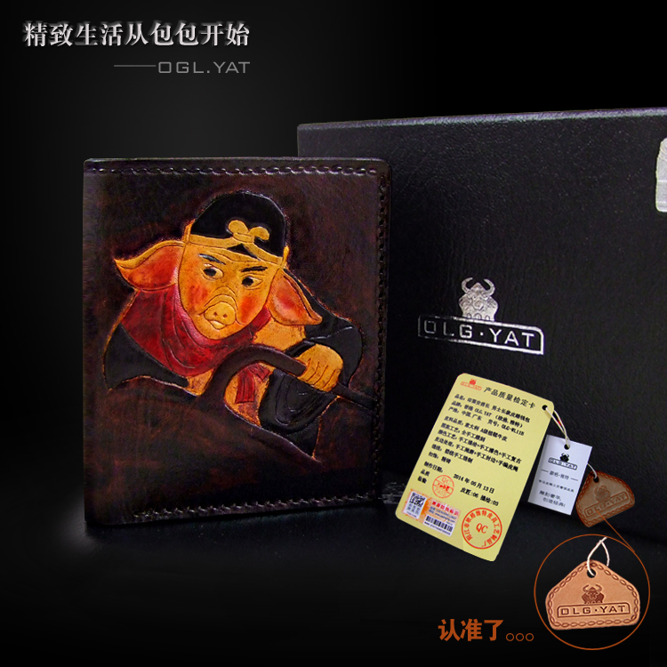 Hong Kong OLG.YAT zodiac Pig  handmade carving wallet  Men's brief paragraph (vertical)purse/ wallet Italy pure leather wallets робот zodiac ov3400