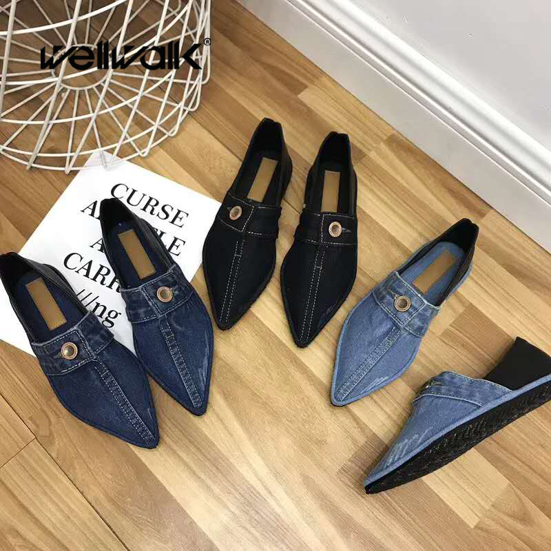 Autumn Shoes Women Denim Loafers Ladies Casual Moccasin Shoes Slip On Ballet Flats Pointed Toe Jeans Ballerinas Casual Flats odetina 2017 brand fashion women casual flat spring shoes pointed toe ballet flats bowknot slip on loafers ballerinas plus size