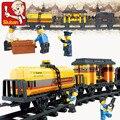 Bloques de construcción sluban 0233 siglo tren especial de mantenimiento set enlighten construcción ladrillos juguetes para los niños regalo leping