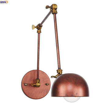 IWHD Rustic Antique Edison Wall Sconce Bedroom Mirror Stair Light Arm Loft Style Vintage Wall Lamp Lighting Lamparas De Pared wall sconce american country golden vintage led wall light fixtures for home indoor lighting beside lamp lamparas de pared