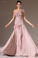Blush Evening Dresses 2018 Mermaid One shoulder Chiffon Flowers Plus Size Long Evening Gown Prom Dresses Robe De Soiree